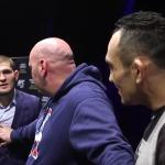 Staredown mellan Khabib Nurmagomedov och Tony Ferguson hettar till