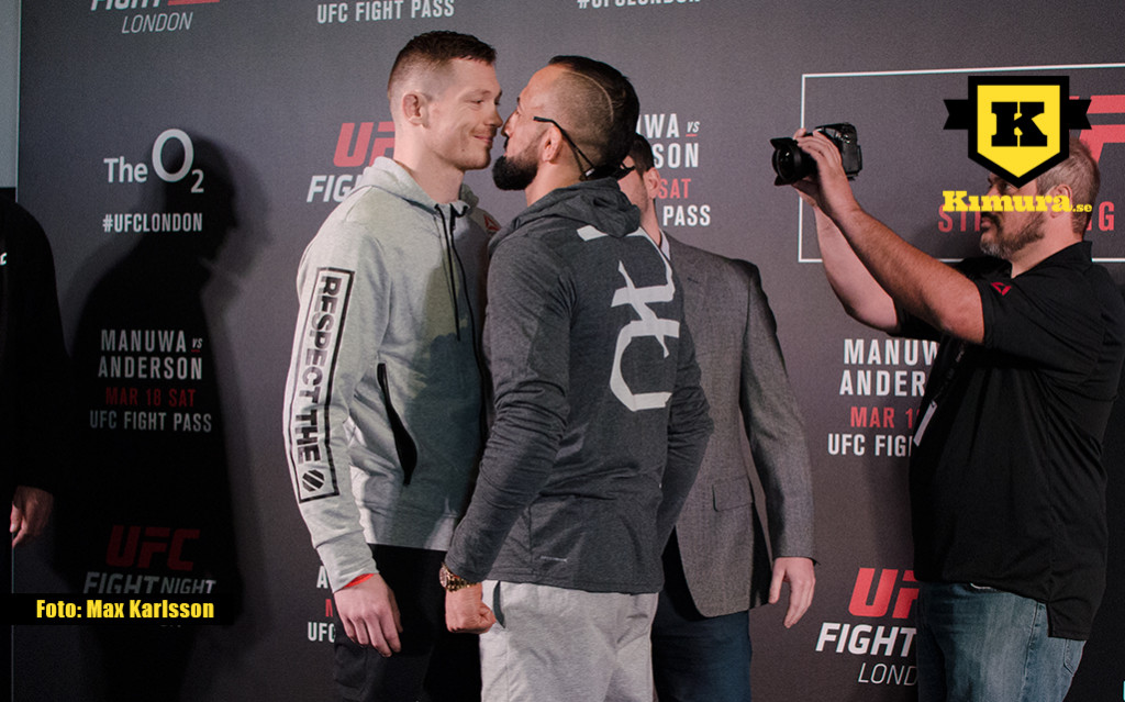 UFC London Reza Maddog Madadi vs Joe Duffy staredown
