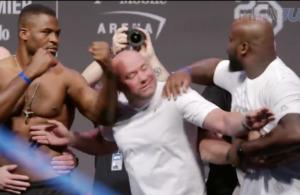 Derrick Lewis och Francis Ngannou knuffas på UFC 226