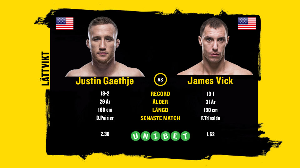 Justin Gaethje vs James Vick stats