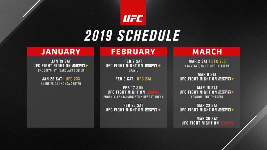 UFC schema för första kvartalet av 2019