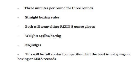 Reglerna för Floyd Mayweather vs. Tenshin Nasukawa