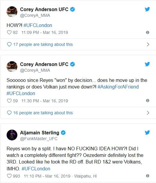 MMA-världen reagerar på Dominick Reyes seger