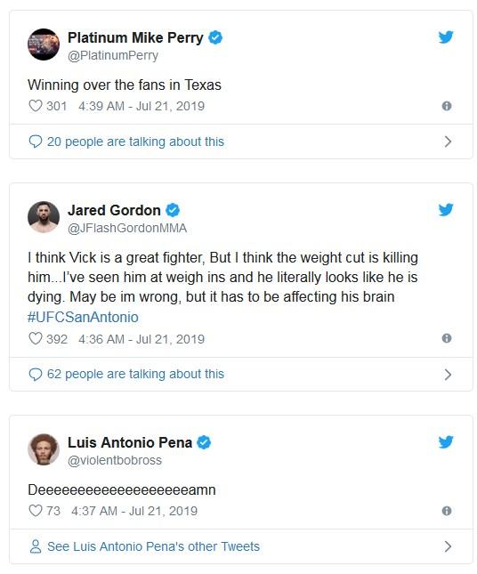 James Vick förlust - Tweets från MMA-världen