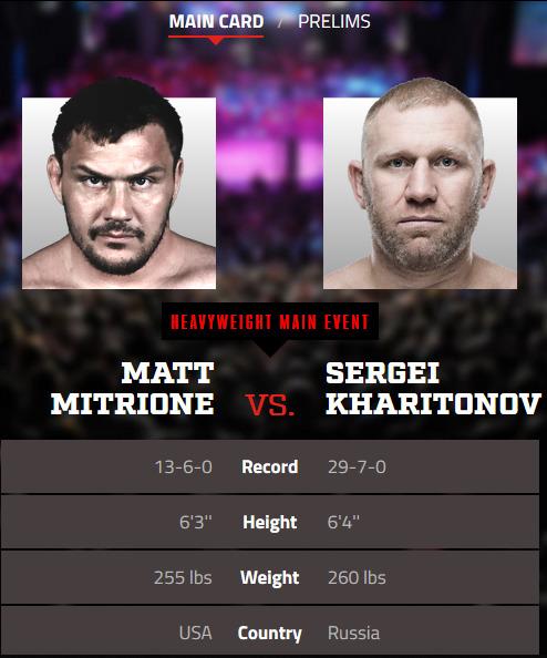 Matt Mitrione vs Sergei Kharitonov stats