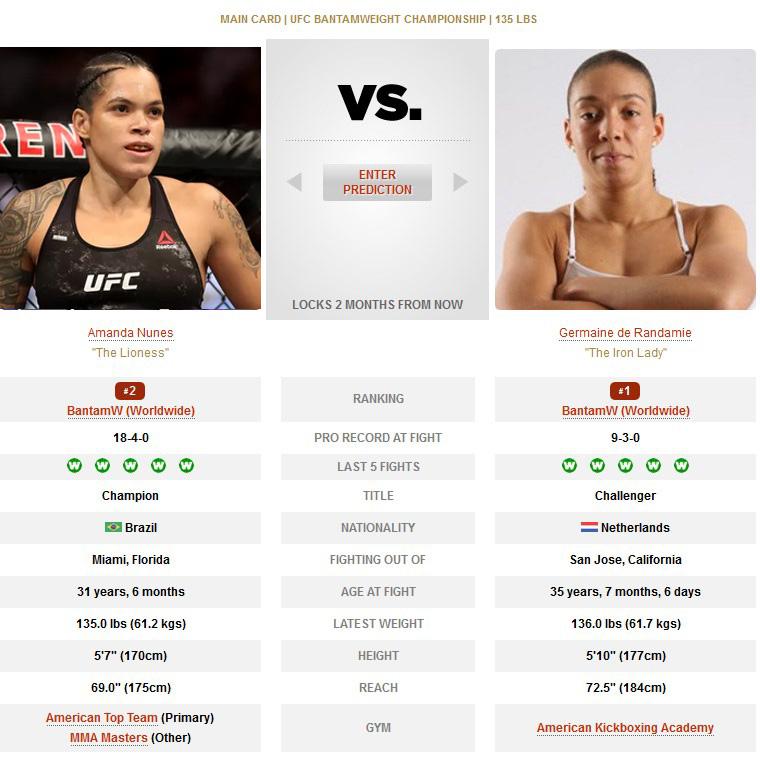 UFC 245 Amanda Nunes vs Germaine de Randamie