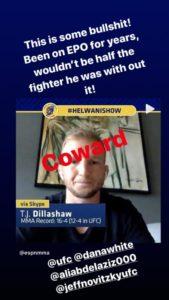 TJ Dillashaw coward