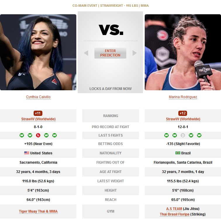 UFC Cynthia Calvillo vs Marina Rodriguez