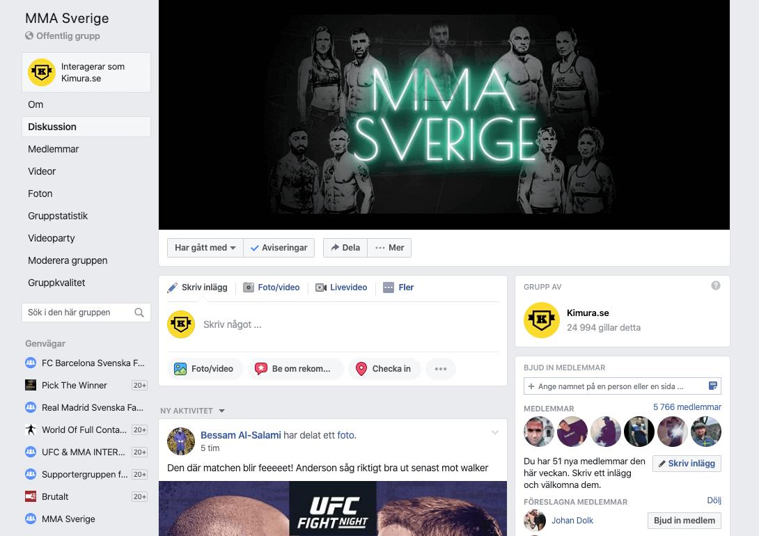 Facebook Gruppen MMA Sverige