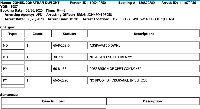 Jon Jones polis åtal