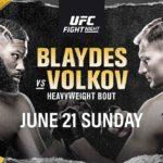 UFC Fight Night Blaydes vs. Volkov Matchkort och tider