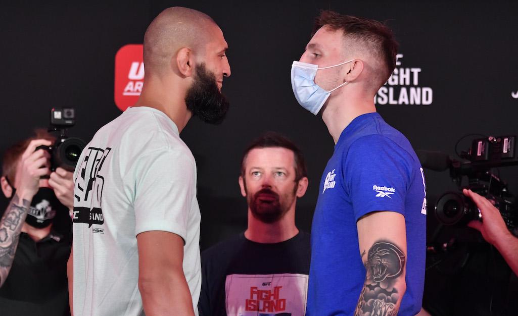 Khamzat Chimaev vs Rhys McKee staredown
