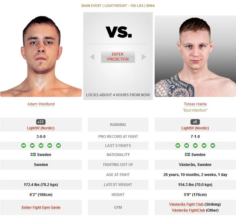 UFC Adam Westlund vs Tobias Harila