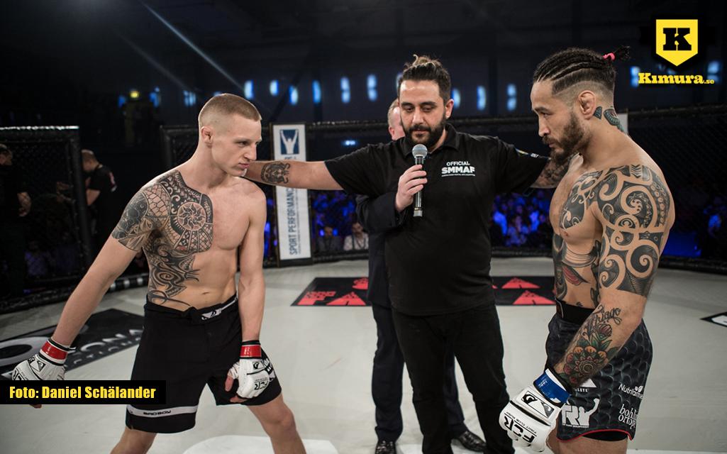 Staredown mellan Tobias Harila och Fernando Flores på Fight Club Rush 6
