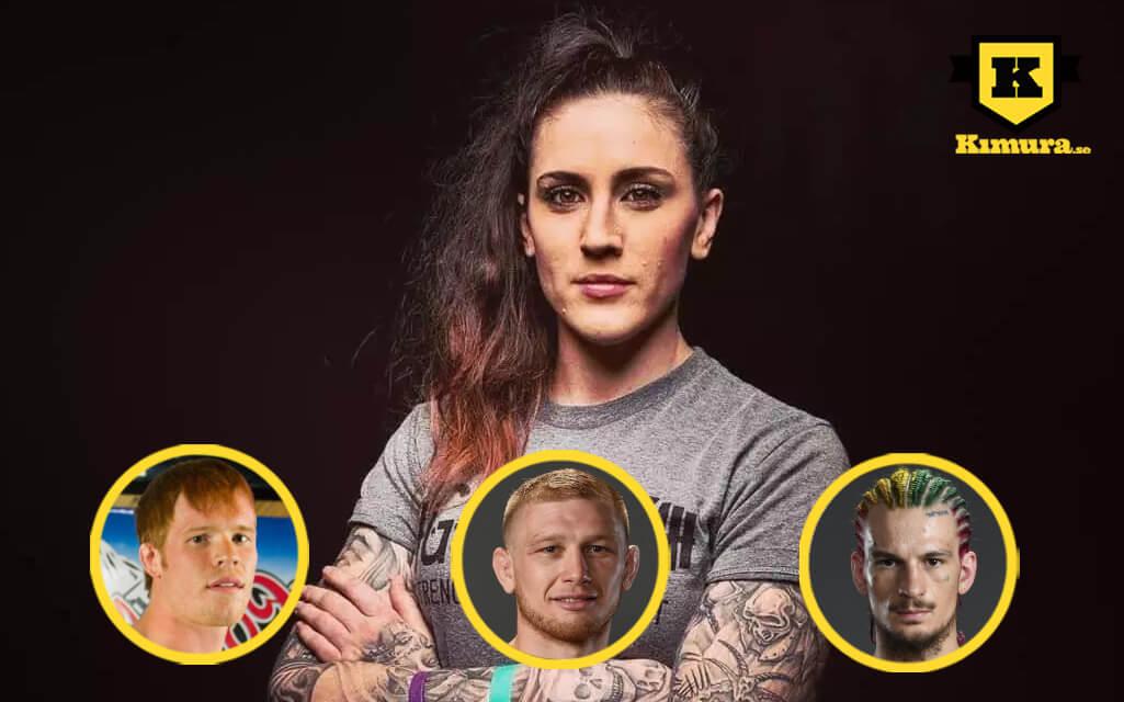 Megan Anderson med Tim Welch, Casey Kenney och Sean O'Malley i cirkel
