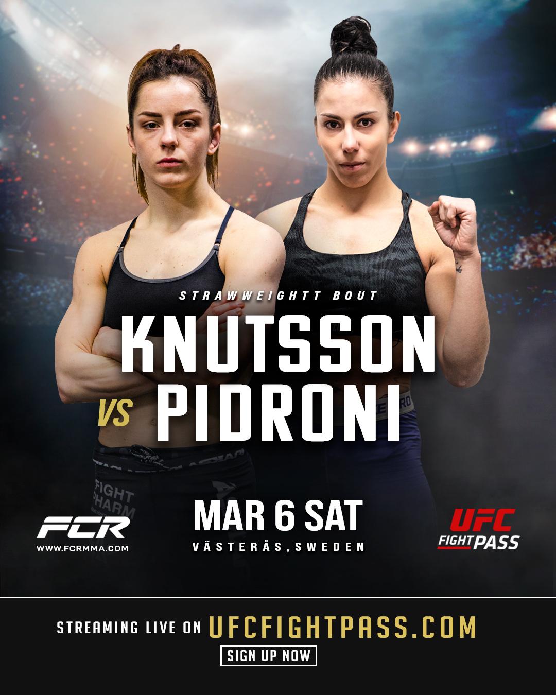 Josefine Lindgren Knutsson och Fabiola Pidroni på poster för Fight Club Rush 8