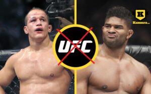 Junior dos Santos och Alistair Overeem i delad bild med överkryssad UFC-loga i cirkel