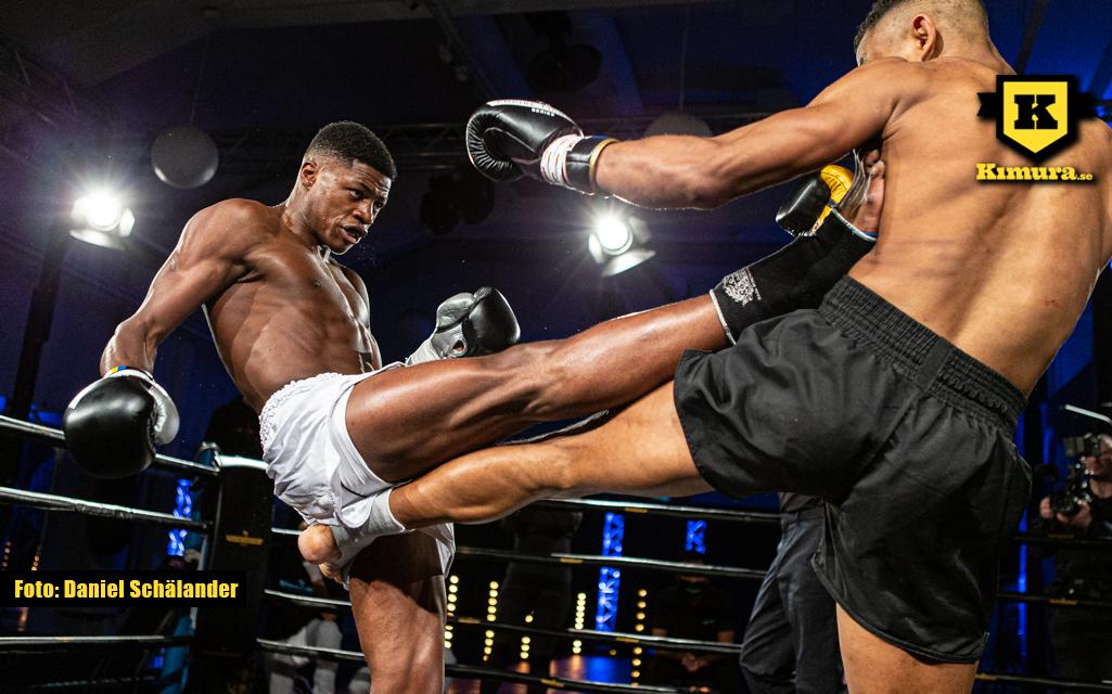 Costas Nanga träffar med en pushkick på Empire Fighting Series