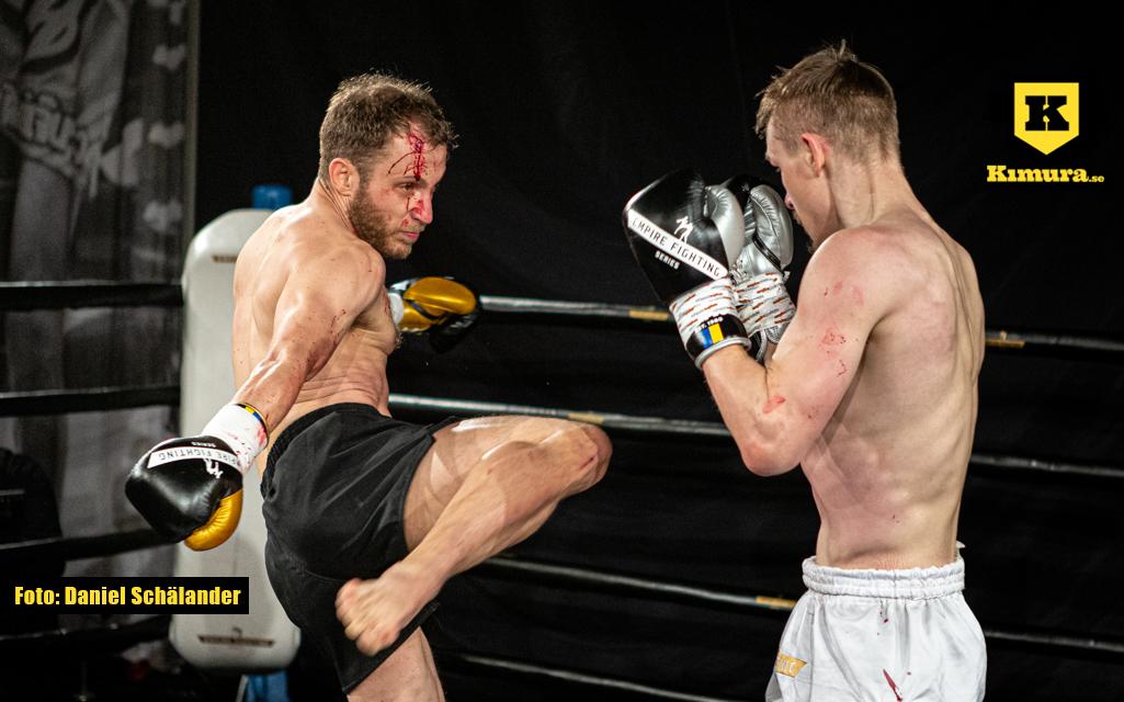Filiph Waldt sparkar mot Kim Falk på Empire Fighting Series