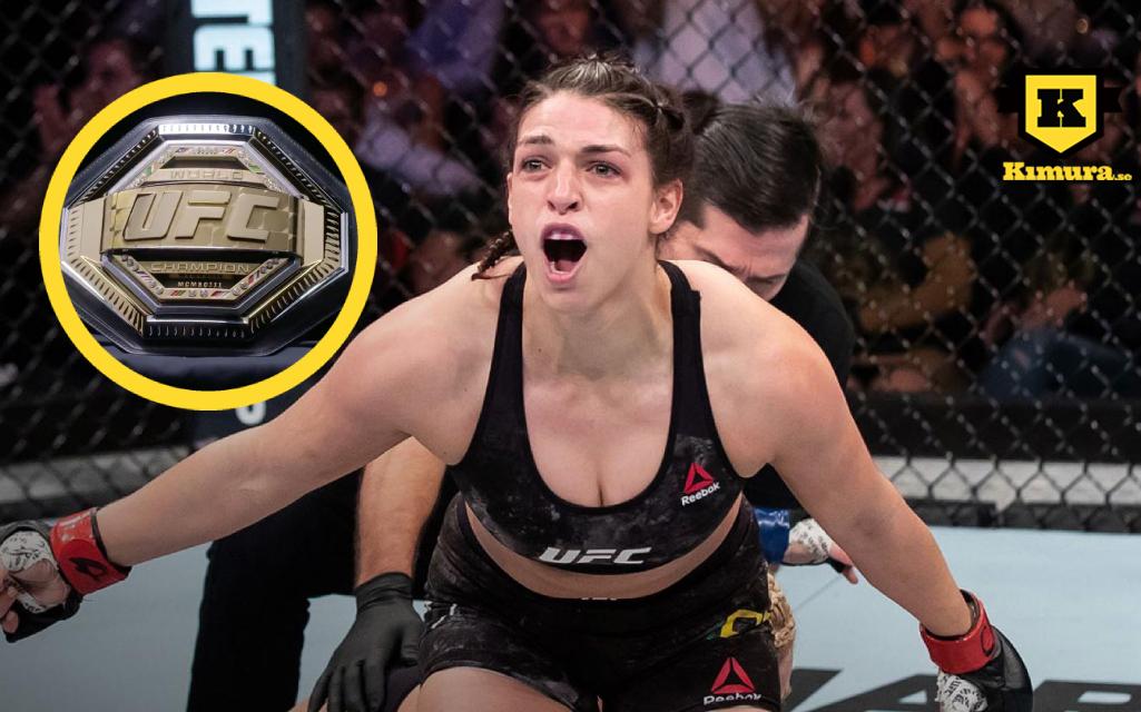 Mackenzie Dern med UFC-bälte i cirkel