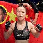 Weili Zhang med Rose Namajunas i cirkel