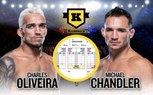 Charles Oliveira Michael Chandler och poängkort i mitten