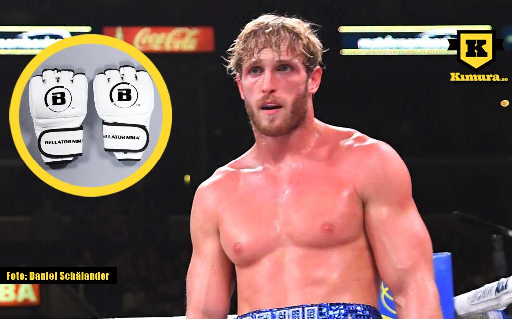 Logan Paul med Bellator-handskar i cirkel